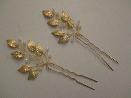 Set 2 Stück Haarnadeln Gold Perlen N6223 Haarschmuck Silber Haarschmuck Braut Haarschmuck Hochzeit