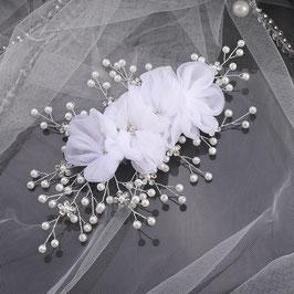 Haarklammer Braut Haarklammer Blumen Perlen Silber Haarschmuck Braut Kopfschmuck Hochzeit N40982