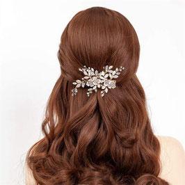 Fascinator Braut Haarklammer Rosegold Blumen Perlen Haarschmuck Blüten N40825
