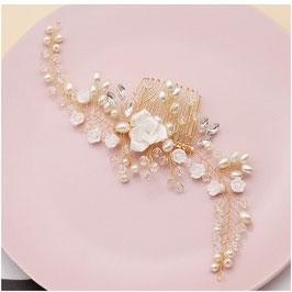 Haarkamm Perlen Blumen Gold Haarschmuck Braut N33281 Haarschmuck Hochzeit Haarschmuck Kamm Gold