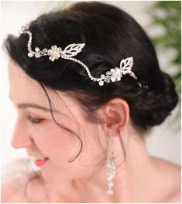 Haarband Strass Silber & Ohrringe Haarschmuck Braut Haarschmuck Hochzeit N25011