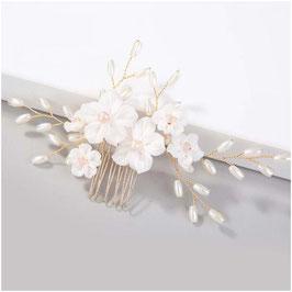 Haarschmuck Braut Haarkamm Blumen Perlen Gold N8772 Haarschmuck Braut Haarschmuck Hochzeit