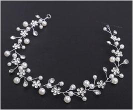 Haardraht-Haarband Silber Strass Blumen Perlen Haarschmuck Braut Haarschmuck Hochzeit N2108-Silber