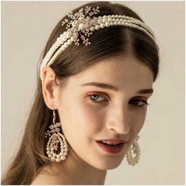 Haarband & Ohrringe Perlen Haarschmuck Braut Haarschmuck Hochzeit N22918