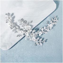 Haarkamm Silber Blumen Perlen Strass Haarschmuck Braut Haarschmuck Hochzeit N3629-Silber