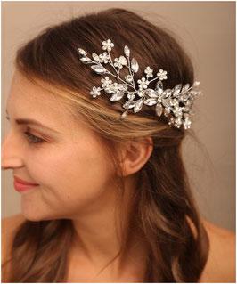 Haarkamm Silber Blumen Strass Haarschmuck Braut Haarschmuck Hochzeit N3389-Silber
