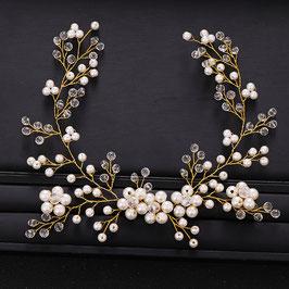 Haarschmuck Braut Haardraht Gold Blumen Perlen Vintage N2953 Brautschmuck Gold Haardraht Haarschmuck Festlich N2953