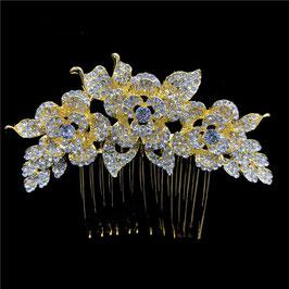 Haarschmuck Braut Haarkamm Gold Hochzeit Haarschmuck Gold N30777 Brautschmuck Gold Blumen Strass