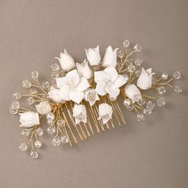 Brautschmuck Haarkamm Blumen Perlen Gold N30097 Haarschmuck Braut Haarschmuck Hochzeit