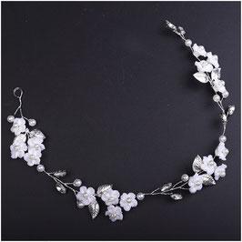 Haarband Blumen Perlen Strass Silber Haarschmuck Braut Haarschmuck Hochzeit N2830-Silber