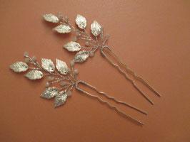 Set 2 Stück Haarnadeln Silber Perlen N6225 Haarschmuck Silber Haarschmuck Braut Haarschmuck Hochzeit