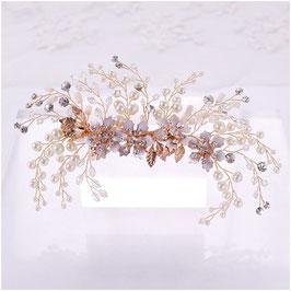 Fascinator Braut Haarklammer Gold Perlen Blumen Strass Haarschmuck Braut Haarschmuck Hochzeit N4816