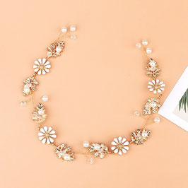 Haarschmuck Braut Haardraht Gold Blumen Perlen Vintage N2952 Brautschmuck Boho Haardraht Haarschmuck Festlich