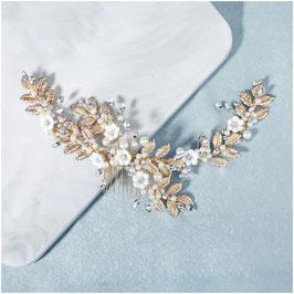 Haarkamm Gold Blumen Perlen Strass Haarschmuck Braut Haarschmuck Hochzeit N3629-Gold
