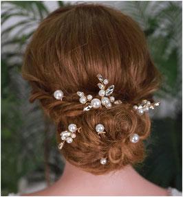 Set 7 Stück Haarnadeln Gold Perlen Haarschmuck Hochzeit N6998-Gold Haarschmuck Braut