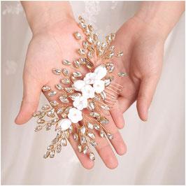 Haarkamm Gold Blumen Strass Haarschmuck Braut Haarschmuck Hochzeit N3624