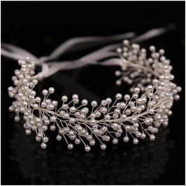 Haarband Perlen Silber Haarschmuck Braut Haarschmuck Hochzeit N2827-Silber