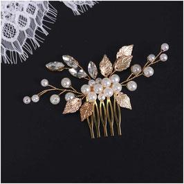 Haarkamm Gold Perlen Strass Haarschmuck Braut Haarschmuck Hochzeit Kopfschmuck Braut N3552