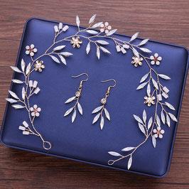 Brautschmuck Haarband Perlen Blumen Gold & Ohrringe N22117 Haarschmuck Hochzeit Haarschmuck Festlich Haarschmuck Gold