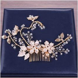 Haarschmuck Blumen Perlen Strass Gold Haarschmuck Braut Haarschmuck Hochzeit N3271