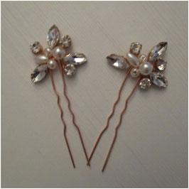 Haarnadeln Rosegold Perlen Strass Haarschmuck Hochzeit (Set 2 Stück) N6116 Haarschmuck Braut