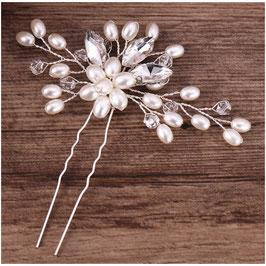 Set 2.Stk. Haarnadeln Perlen Strass Silber Haarschmuck Braut Haarschmuck Hochzeit N60342