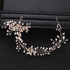 Haardraht Braut Haarschmuck Gold Strass Perlen Blumen  N24297 Brautschmuck Haare Gold Haarschmuck Hochzeit