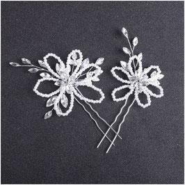 Set 2 Stück Haarnadeln Silber Perlen Strass Haarschmuck Hochzeit N6788-Silber Haarschmuck Braut