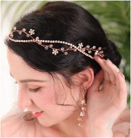 Haardraht Rosegold Strass & Ohrringe Rosegold Strass N75084 Haarschmuck Hochzeit Haarschmuck Festlich