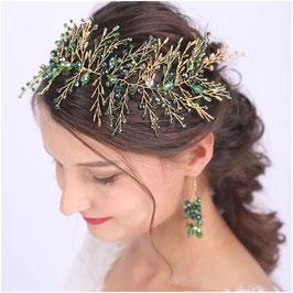 Haarband & Ohrringe Perlen Haarschmuck Braut Haarschmuck Hochzeit N22919 Haarschmuck Grün Haarschmuck Festlich