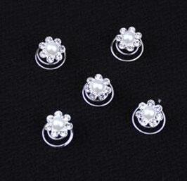 Haarschmuck Set 12 Stück Curlies Perlen Silber N9910 Haarschmuck Braut Haarschmuck Hochzeit