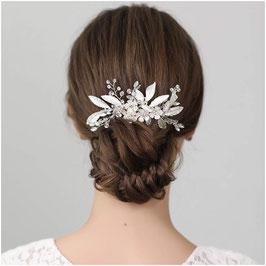 Haarschmuck Braut Haarkamm Blumen Perlen Strass Silber Haarschmuck Hochzeit Haarkamm Hochzeit N32003