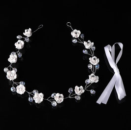 Braut Haarband Blumen Perlen Silber Haardraht Blumen Perlen N2327