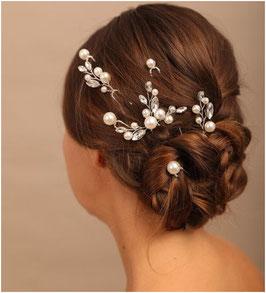 Set 7 Stück Haarnadeln Silber Perlen Haarschmuck Hochzeit N6998-Silber Haarschmuck Braut