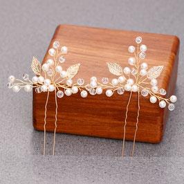 Haarnadeln Braut Haarnadeln Gold Perlen Haarschmuck Hochzeit (Set 2 Stück) N6251 Haarschmuck Gold Perlen