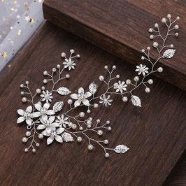 Haarschmuck Braut Haardraht Silber Blumen Perlen N24620 Haarschmuck Hochzeit
