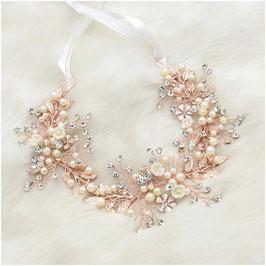 Haarband Rosegold Perlen Blumen Strass Haarschmuck Braut Haarschmuck Hochzeit N26077