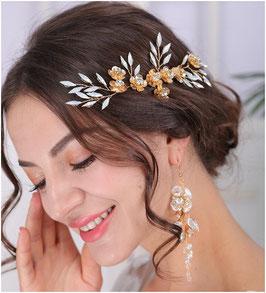 Haarklammer Gold Blumen & Ohrringe N4790 Haarschmuck für die Braut