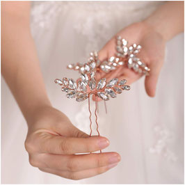 Set 2 Stück Haarnadeln Rosegold Strass Haarschmuck Braut N6828 Hochzeit Haarschmuck Rosegold Brautschmuck Haare