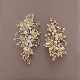 Set 2 Stk. Haarklammern Gold Perlen Strass Haarklammer Hochzeit N4054 Haarschmuck für die Braut