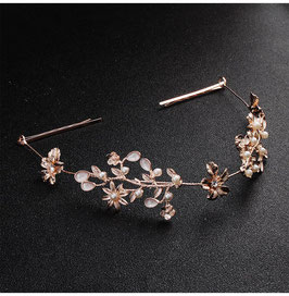 Haarband Rosegold Perlen Blumen Haardraht Rosegold Haarschmuck Festlich N2599