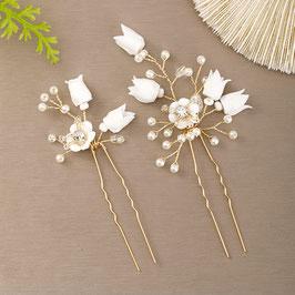 Set 2 Stück Haarnadeln Blumen Perlen Gold Haarnadeln Braut Haarnadeln Hochzeit Haarschmuck Braut Haarschmuck Hochzeit N68002
