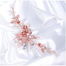 Haarkamm Rosegold Blumen Strass Perlen Haarschmuck Braut Haarschmuck Hochzeit N3321-Rosegold
