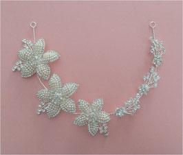 Haarschmuck Braut Haarband-Haardraht Blumen Perlen Strass Silber N2863 Brautschmuck Blumen Haarschmuck Festlich