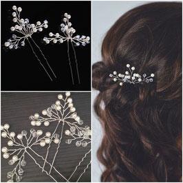 Set 3 Stück Haarnadeln Perlen Silber N6154 Braut Haarschmuck Hochzeit Haar Accessoires Perlen Silber