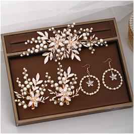 Haarschmuck Set Gold Blumen Perlen Strass N3037