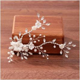 Brautschmuck Haarklammer Blumen Perlen Strass Silber N40273 Haarschmuck Braut Haarschmuck Hochzeit