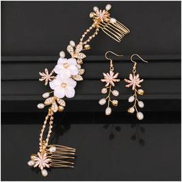 Haarkamm Gold Blumen Perlen Strass & Ohrringe N30352