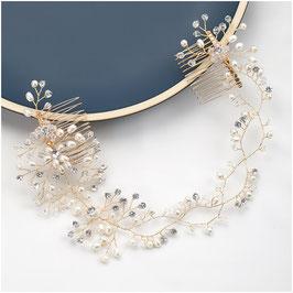 Haarband Gold Perlen Haarkamm Gold Haarband Hochzeit Haarkamm Perlen Brautschmuck Gold Haarschmuck Gold N20028