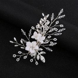 Haarklammer Blumen Perlen Silber Fascinator Braut Haarklammer Hochzeit N42401 Haarschmuck für die Braut